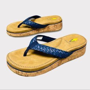 Volatile Blue Braided Platform Thong Sandal Flip Flops size 8
